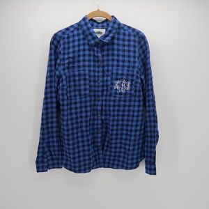 Old Navy Blue Plaid Long Sleeve Button Down Shirt
